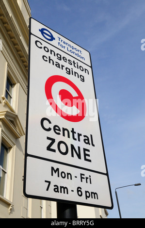 Transport for London Congestion Charging Central Zone sign, Millbank, London, England, UK - Stock Photo