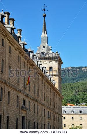Tower of Royal Monastry of El Escorial. Madrid. Spain - Stock Photo