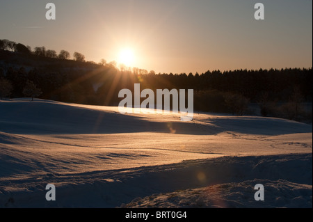 View on a beautiful Sunset in the winter time - Stock Photo