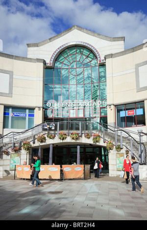 Street scene outside entrance to Queens Arcade shopping centre in Cardiff (Caerdydd), Glamorgan, South Wales, UK, - Stock Photo