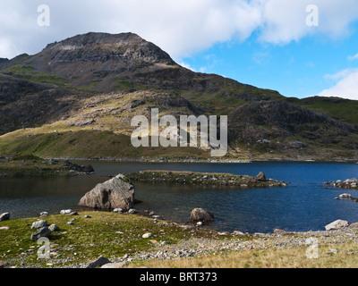 The peak of Crib Goch seen across Llyn Llydaw in Cwm Dyli, Snowdon