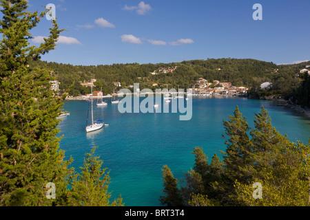 Yachts at anchor, Lakka, Paxos, Greece - Stock Photo