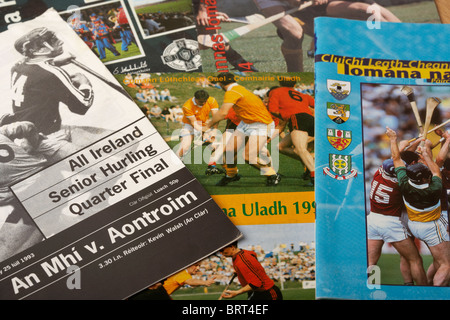 selection of gaa hurling game programmes from ireland - Stock Photo