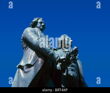 Statue of Goethe and Schiller, Weimar, Thuringia, Germany - Stock Photo