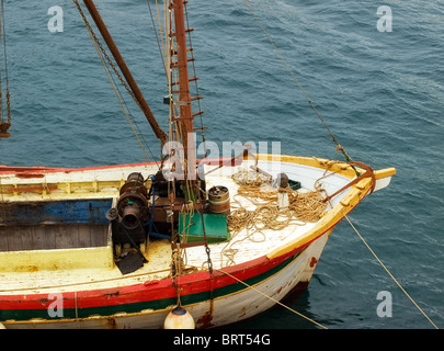 Just a ship's bow of an old wooden cargo ship somewhere on Adriatic. - Stock Photo