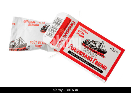 45G Box and packet of Fishermans friends original extra strong traditional menthol eucalyptus lozenges - Stock Photo