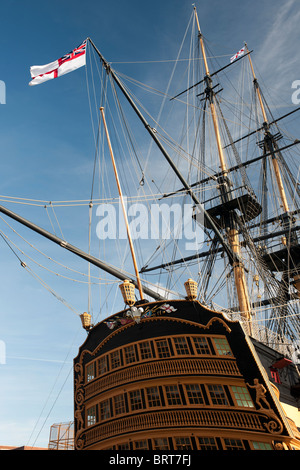 HMS Victory, (Nelsons Flagship), HM Dockyard, Portsmouth, Hampshire, England, UK; view of stern of ship showing - Stock Photo
