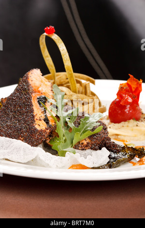 salmon with salad - Stock Photo