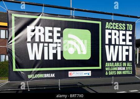 Free WiFi sign at Welcome Break Motorway Service Station, Hartshead, M62, West Yorkshire, England, UK