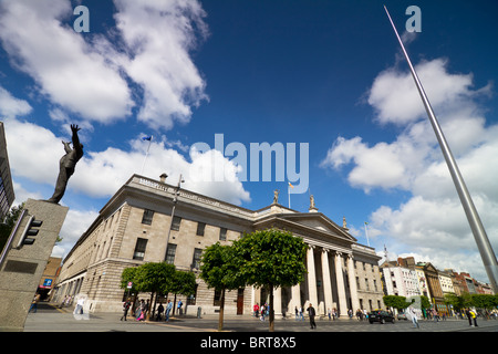 Dublin city centre with spire on O'Connell street, central Post office and monument of Jim Larkin - Stock Photo