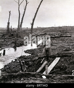 FIRST WORLD WAR - YPRES battlefield February 1918 - Stock Photo