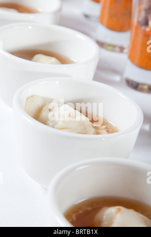 asian soup with dumpling - Stock Photo