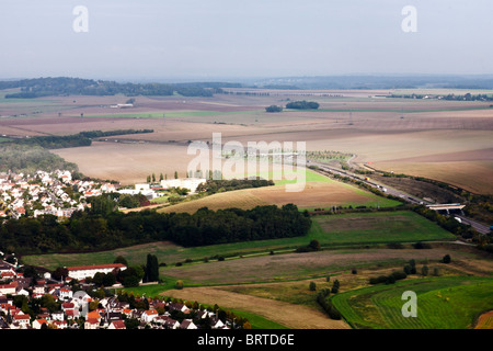 aerial view of pattern of cultivated fields & suburban houses on the approach to Charles de Gaule Airport Ile-de - Stock Photo