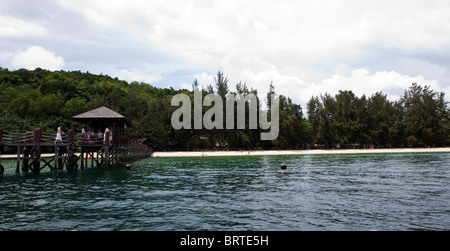 A view of the dock on Manukan Island near Kota Kinabalu in Sabah, Malaysian Borneo - Stock Photo