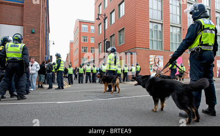 Police Dog Unit stand guard as The English Defence League demonstrate in Leicester. 9th October 2010. - Stock Photo