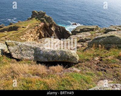 A rocky outcrop on Gwennap Head in Cornwall.  Photo by Gordon Scammell - Stock Photo