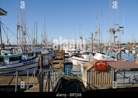 Crab fishing boats docked at the marina in Crescent City, California - Stock Photo