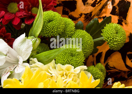 Close up background of Beautiful Flower Bouquet wrapped in cellophane. - Stock Photo