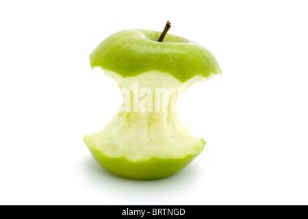 green apple core isolated over white - Stock Photo
