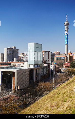View of Constitution Court from Old Fort with Telkom Tower in background, Constitution Hill, Johannesburg, Gauteng, - Stock Photo