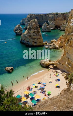 Portugal, the Algarve, Armacao de Pera, Praia da Marinha in summer - Stock Photo
