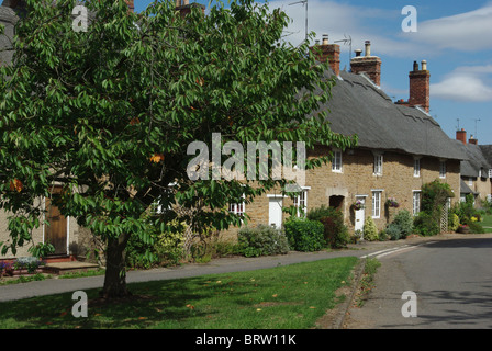 Picturesque row of thatched cottages in the village of Ashby St Ledgers, Northamptonshire - Stock Photo