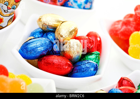 Colourful chocolate Easter eggs - Stock Photo