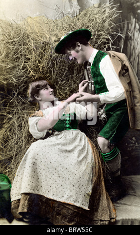 Flirting in Bavaria, historical image, ca. 1910 - Stock Photo