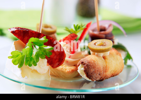 Various types of  finger food - Stock Photo