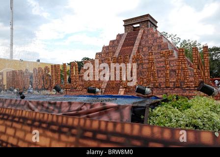 Xmatkuil, Yucatan / Mexico - November 12: A replica of the Chichen Itza pyramid at the Xmatkuil Fair - Stock Photo