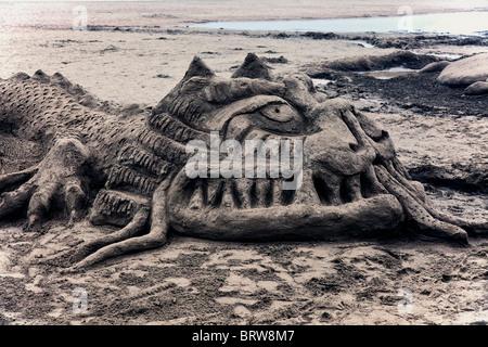 Sand dragon sculpture, Ocean Beach, San Francisco, California - Stock Photo