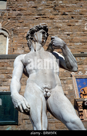 Michelangelo's David in front of the Uffizi, Florence, Tuscany, Italy, Europe - Stock Photo