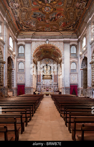 Santarém Cathedral / Se or Nossa Senhora da Conceição Church, Portugal. Jesuit Church. - Stock Photo