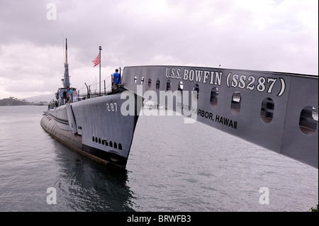 WW2 submarine, USS Bowfin. USS Bowfin Submarine Museum & Park, part of the USS Arizona Memorial Museum in Pearl - Stock Photo