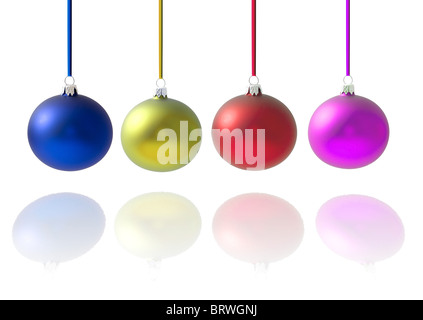 Christmas crystal balls full of colors, with reflection on white background - Stock Photo