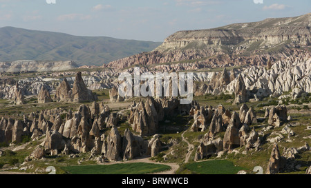 TURKEY Landscape over the Rose Valley with fairy chimneys, Goreme, Cappadocia. photo by Sean Sprague - Stock Photo