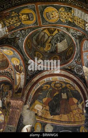 TURKEY Goreme Open Air Museum, Cappadocia. Frescoes of the Karanlik (Dark) church. 12th Century. photo by Sean Sprague - Stock Photo