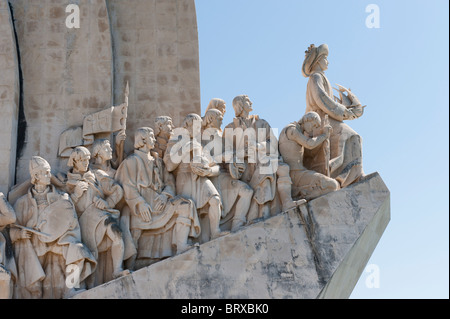 Detail on the Monument to the Discoveries on Lisbon's Belem waterfront - Stock Photo