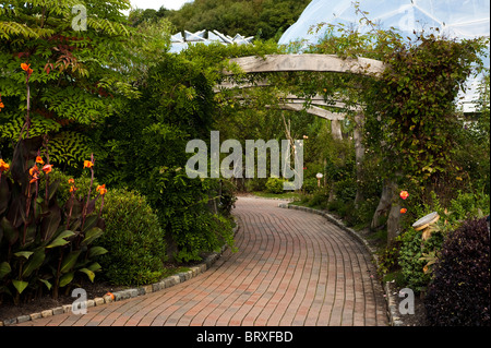 Pergola and pathway at The Eden Project in Cornwall, United Kingdom - Stock Photo
