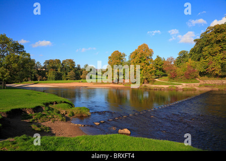 The stepping stones across the River Wharfe at Bolton Abbey, Yorkshire Dales National Park, North Yorkshire, England, - Stock Photo