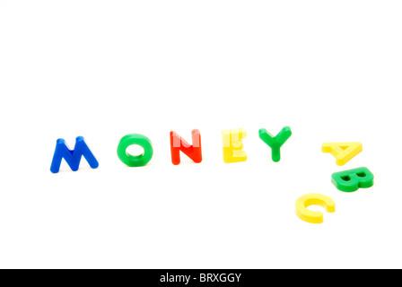Kids educational letters spelling Money ABC - concept - basics of money - Stock Photo