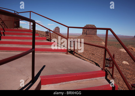 The View Visitors Center steps at Monument Valley Navajo Tribal Park in Arizona and Utah, United States, June 14, - Stock Photo