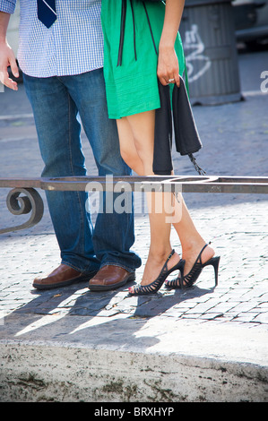 Couple together visiting the city of Rome in Italy - Stock Photo