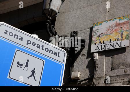 PEDESTRIAN STREET, (ZONA PEATONAL), CALLE ARENAL, MADRID, SPAIN - Stock Photo