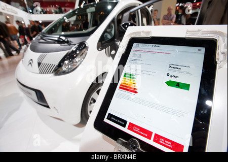 Technical information display showing zero C02 emissions from Citroen ION electric car at Paris Motor Show 2010 - Stock Photo
