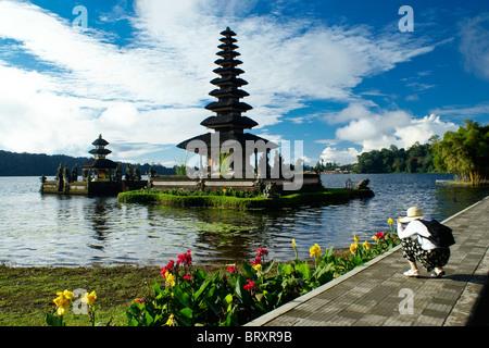 Ulu Danu Temple, Lake Bratan, Bali, Indonesia - Stock Photo
