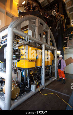 Rov vessel with 'grab' implements stowed on board  oilfield intervention vessel berthed at Montrose Scotland.UK - Stock Photo