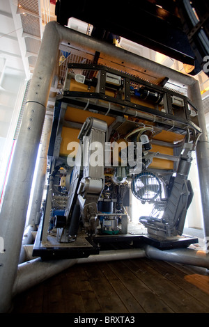 Rov vessel with 'grab' implements stowed on board 'Sarah' oilfield intervention vessel - Stock Photo