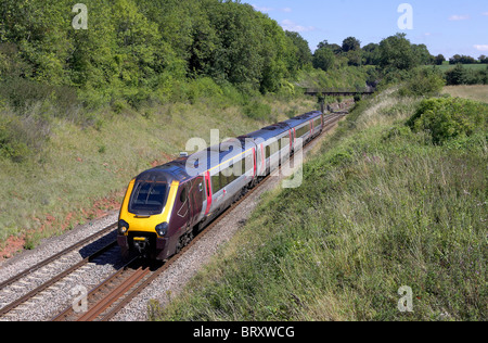 AXC, cross country Voyager heads south with a Plymouth service through Wickwar (Gloucestershire) on 16/08/10. - Stock Photo