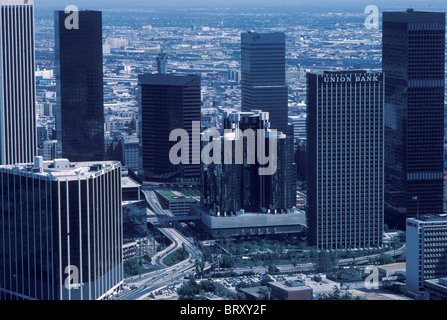 Downtown Los Angeles skyline in 1984 year of the Los Angeles Olympic Games Southern California USA - Stock Photo
